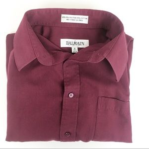 Vintage Balmain Burgundy Button Down Dress Shirt M